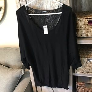 NWT Express Dolman Style Sweater w/ Lace Back